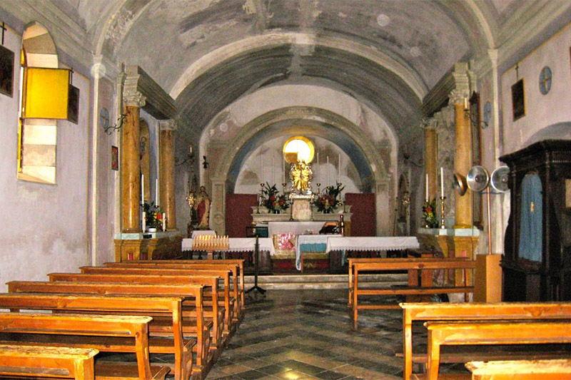 Interior  of church inside the village walls